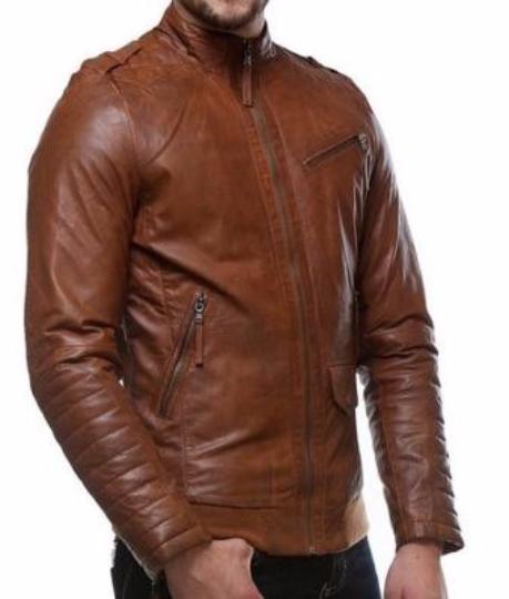 2c43ac9ae Stylish Leather Jacket with Ribbed Bottom for Men