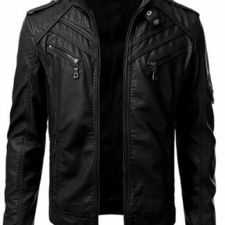 Men S Leather Motorcycle Jacket With Snap Button Collar The Sammy
